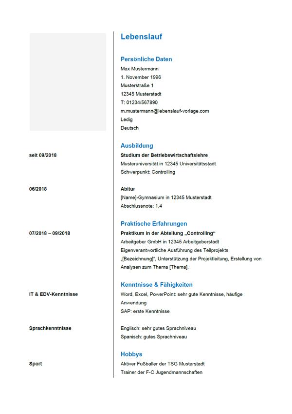 Vorlage / Muster: Lebenslauf 6